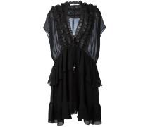Gerüschtes Kleid mit semi-transparentem Einsatz