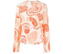shell-print wrap blouse
