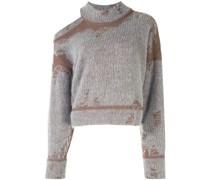 Schulterfreier Distressed-Pullover