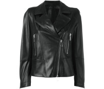 biker jacket with silver tone zippers