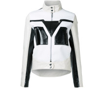 - graphic contrast faux leather jacket - women