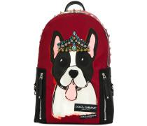 Vulcano dog print and studded backpack