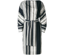 oversized striped belted dress