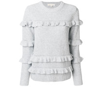 ribbed frill trim jumper