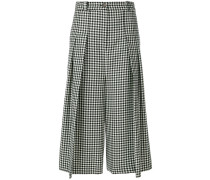pleated check culottes