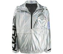 metallic logo print jacket