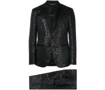 tonal print two piece suit
