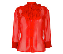 sheer frill fitted shirt