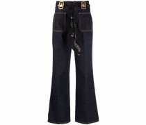 High-Waist-Jeans mit Schaldetail