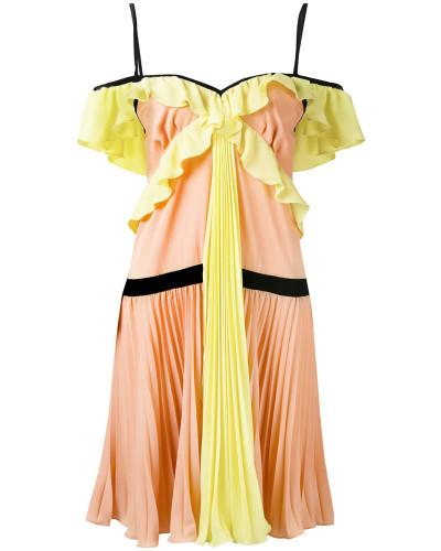 Plissiertes Kleid mit Rüschen