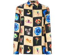 Seidenhemd mit Schachbrett-Print
