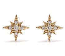 14kt Gelbgoldohrstecker in Sternform mit Diamanten