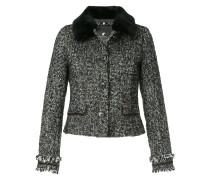 contrast collar tweed jacket