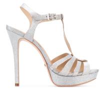 Glitzernde Sandalen mit T-Riemen - women