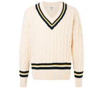 Grob gestrickter Pullover mit V-Ausschnitt