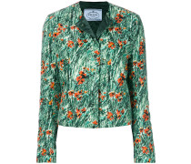 Cropped-Jacke mit Mohnblume-Print