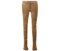 stretch skinny leather  trousers