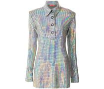 Poloshirt-Kleid in Metallic-Optik