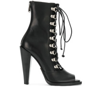lace-up peep toe boots
