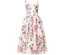 rose print flared dress