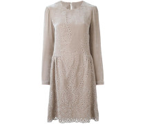 perforated detailing flared dress