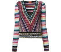 striped V-neck knitted blouse
