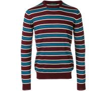 round-neck striped pullover