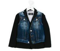 bi-material denim jacket