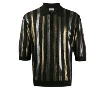 Poloshirt mit Metallic-Streifen