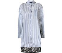 lace back striped shirt dress