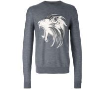 Wollpullover mit Löwen-Print