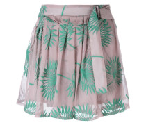 plants motif embroidered shorts