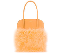 panelled fluffly tote