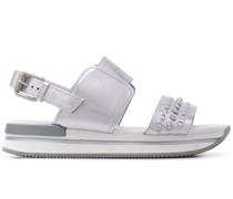 Flatform-Sandalen mit gewebtem Riemen