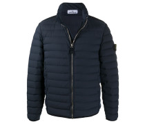 padded feather down jacket with logo patch at sleeve