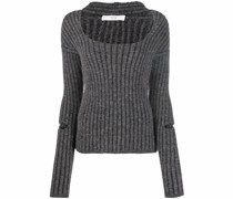 Gerippter Pullover mit U-Ausschnitt