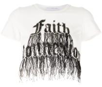 Cropped-T-Shirt mit Fransen