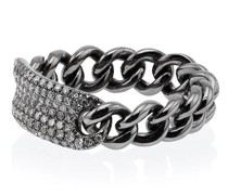 Metallic Silver Chain Link Diamond Ring