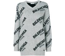 Jacquard Logo V Neck sweater