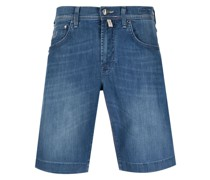 Jeans-Shorts mit Logo-Patch