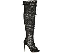 Peeptoe-Stiefel mit Netzmuster