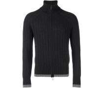 ribbed zip-up fleece