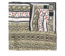 snakeskin print silk scarf