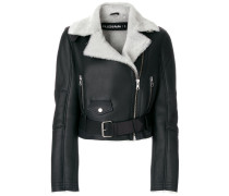 cropped shearling lined jacket