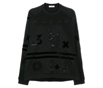 Counting embroidered sweatshirt