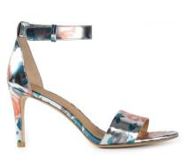 Metallische Sandalen mit Rosen-Print