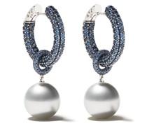 18kt Weißgoldohrringe mit Perlen und Saphiren