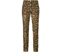 leopard print straight trousers