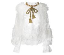 embellished bow lace blouse
