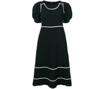 contrast trim puff sleeve dress
